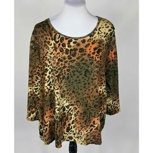 White Stag Animal Print Top Size 3X Sequins Beads